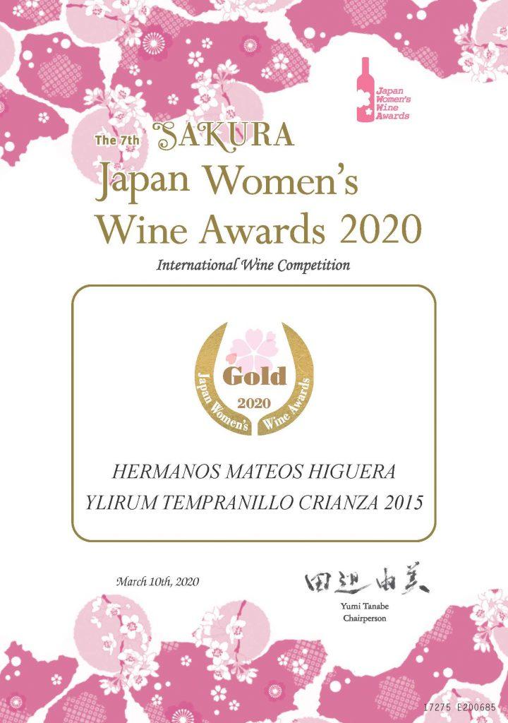 Diploma Medalla de Oro Ylirum tempranillo crianza 2015